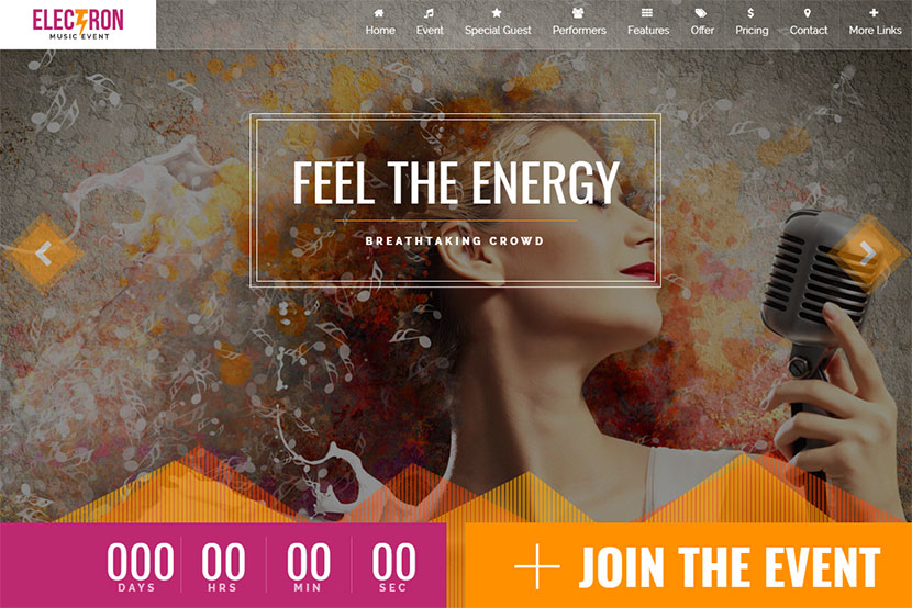 electron-music-event-landing-page