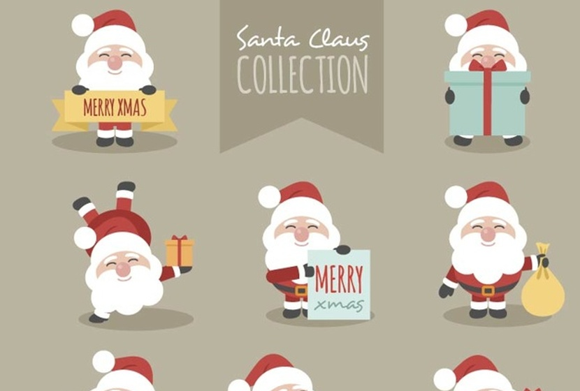 fantastic-character-pack-of-smiling-santa-claus-free-vector