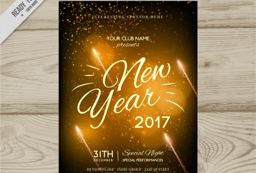 golden new year party invitation 2017 free vector