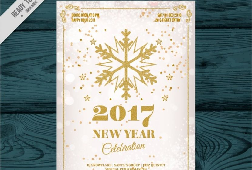 new-year-celebration-invitation-with-golden-snowflake-free-vector