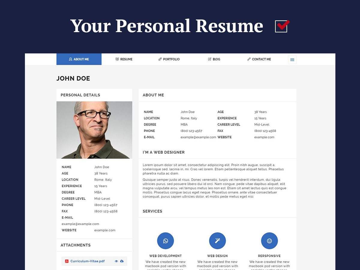 personal resume and cv wordpress themes for 2017