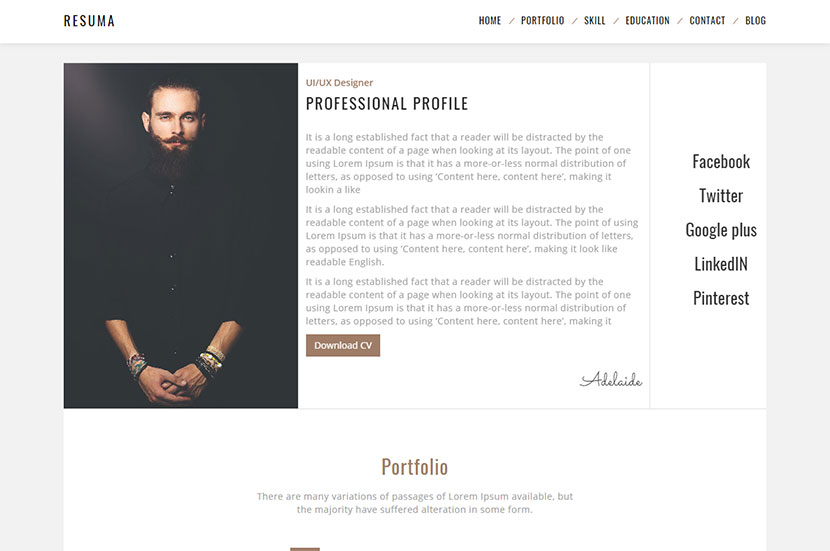 resumã in personal resume and cv themes for 2017 wp