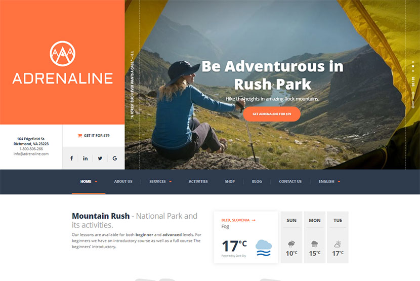Hiking and Camping WordPress Themes for Trips and Adventures Addicts ...