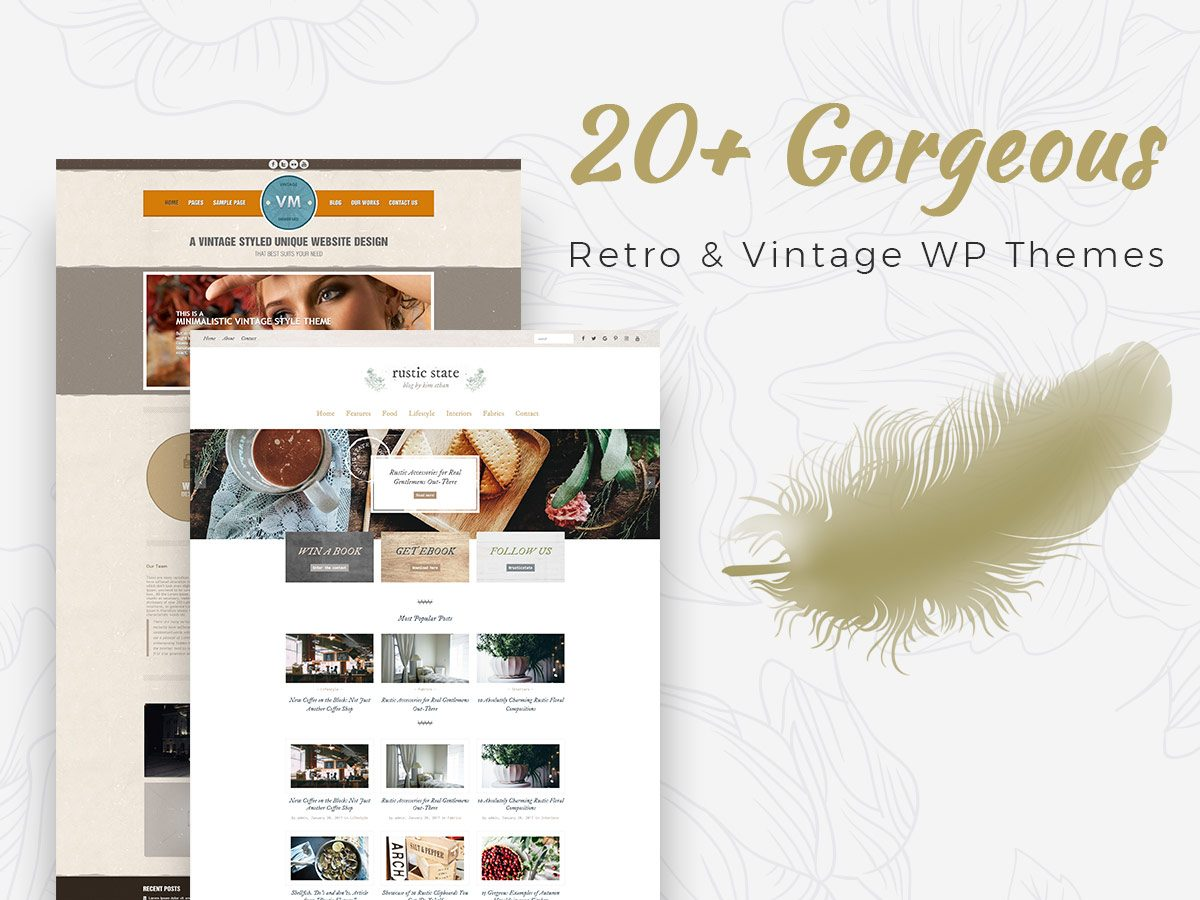 20+ Gorgeous Vintage and Retro WordPress Themes - Premium Collection