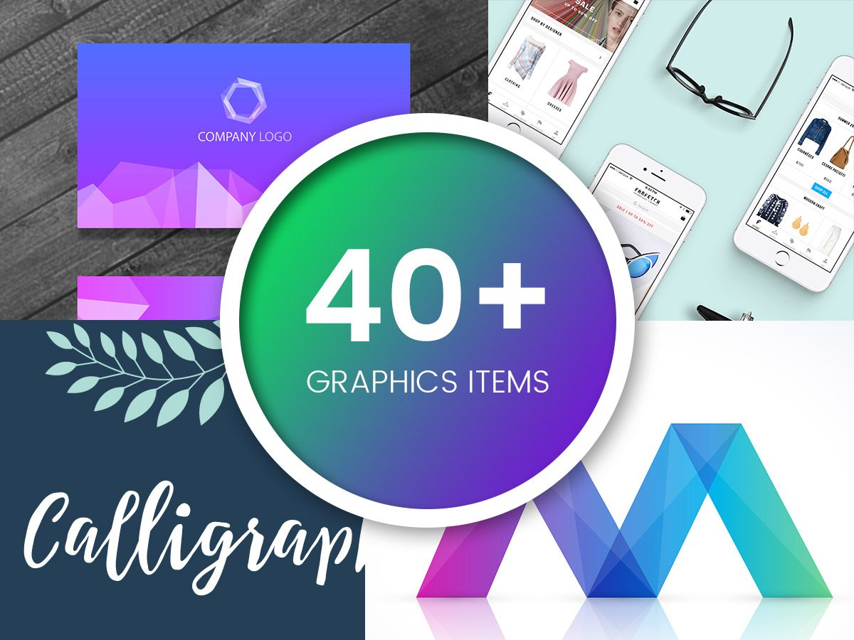 40+ Graphics Items 2017 (Business Card Mockups, Fonts, Web Elements...)