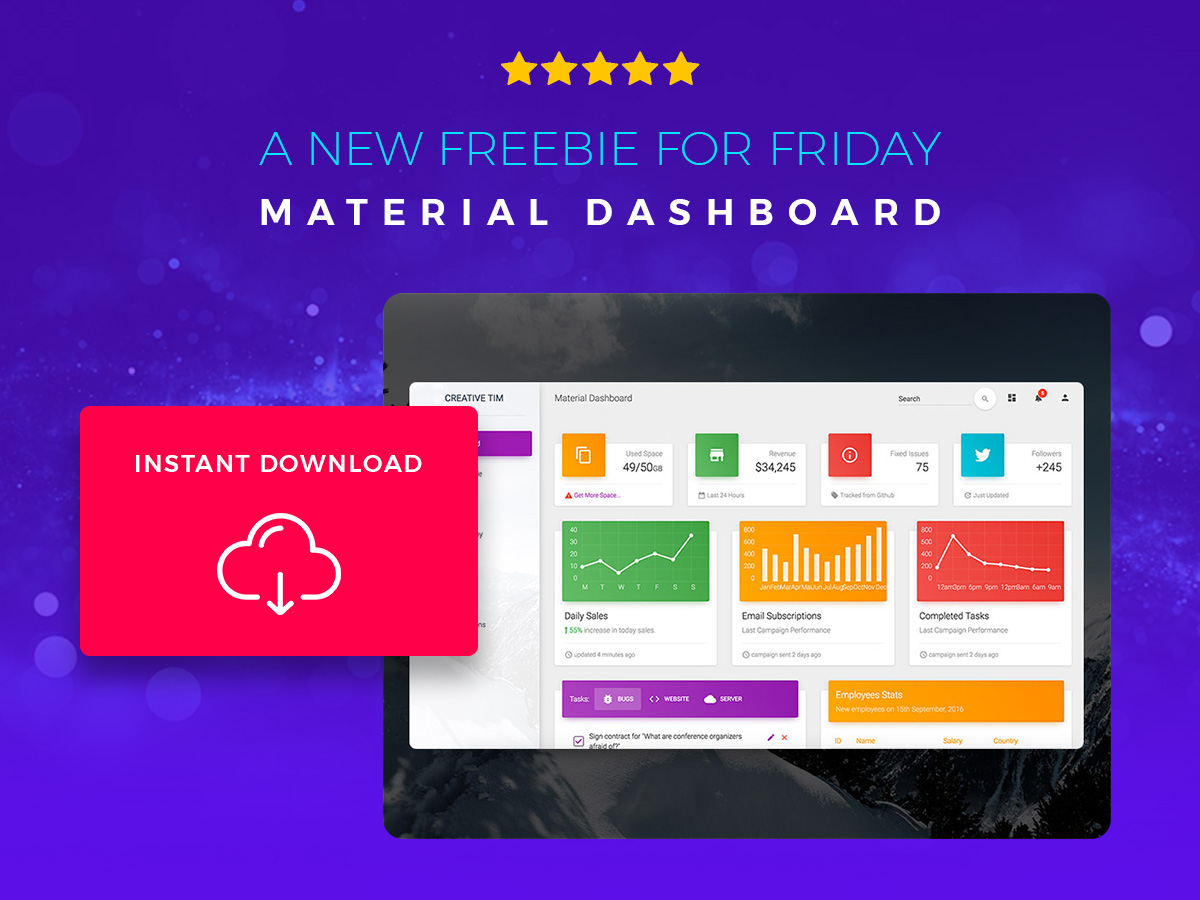 A New Freebie for Friday - Material Dashboard. Instant Download