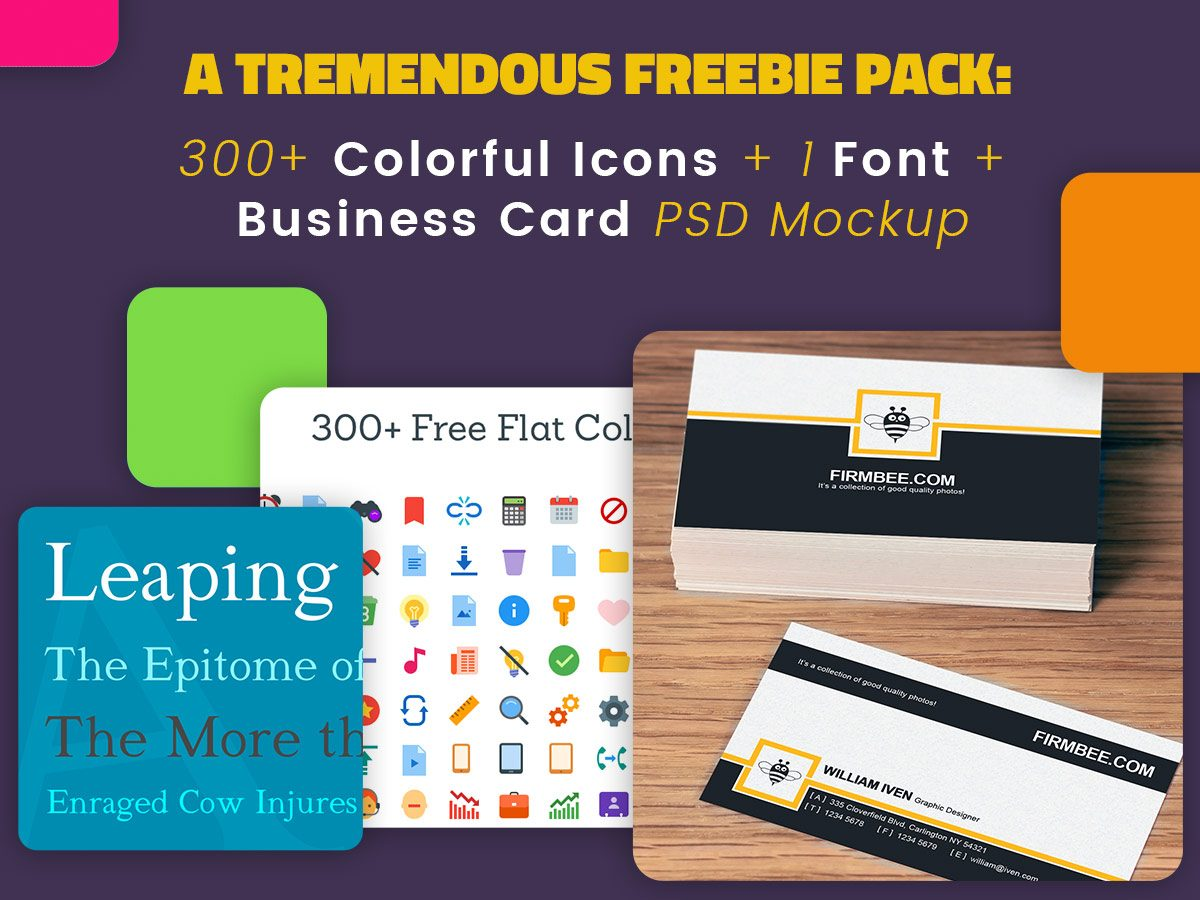 A Tremendous Freebie Pack 300+ Colorful Icons + 1 Font + Business Card Mockup