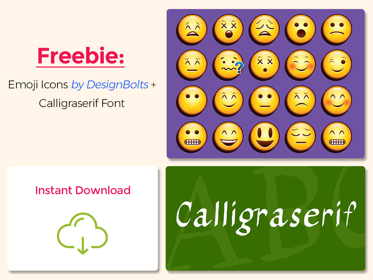 Freebie Emoji Icons by DesignBolts + Calligraserif Font - Instant Download