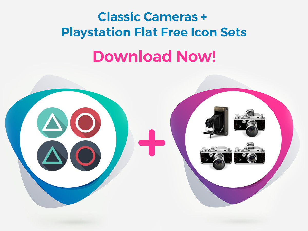 Classic Cameras + Playstation Flat Free Icon Sets - Download Now!