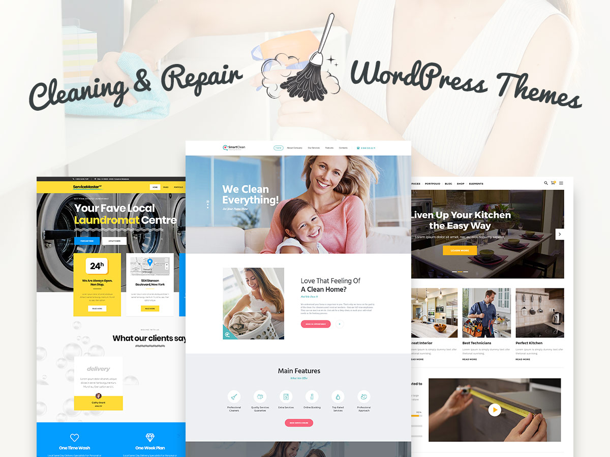 Cleaning, Laundry and Repair WordPress Themes for Sevice Comapnies