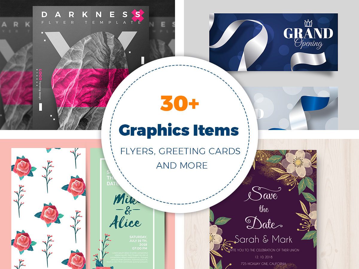 30+ Graphics Items for Holidays, Anniversaries, Festivals (Flyers, Greeting Cards, and More)