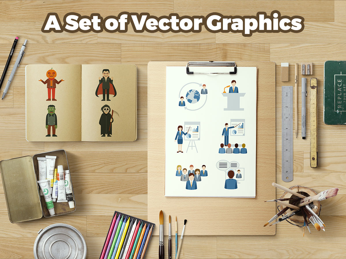 A Set of Vector Graphics (Characters, Conceptual Art, Objects, and More)
