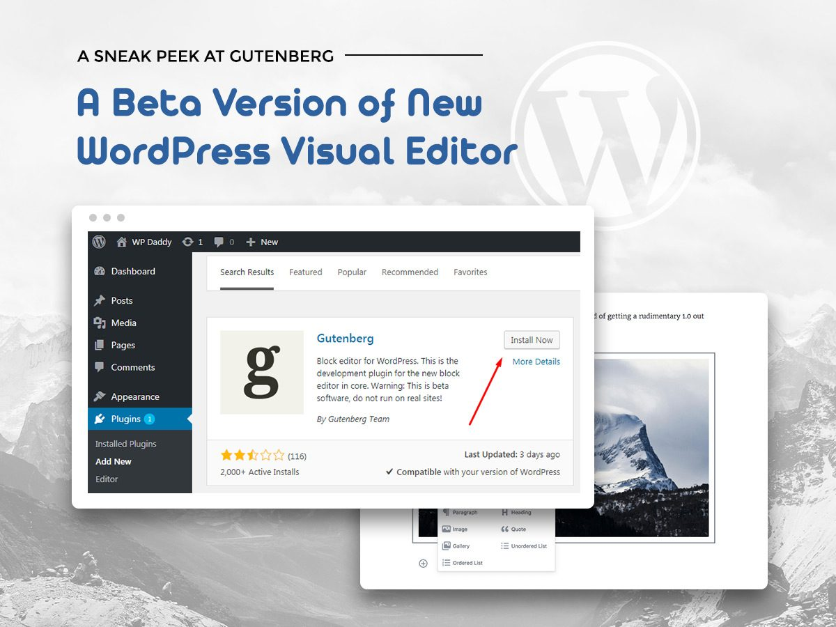 A Sneak Peek at Gutenberg - A Beta Version of New WordPress Visual Editor