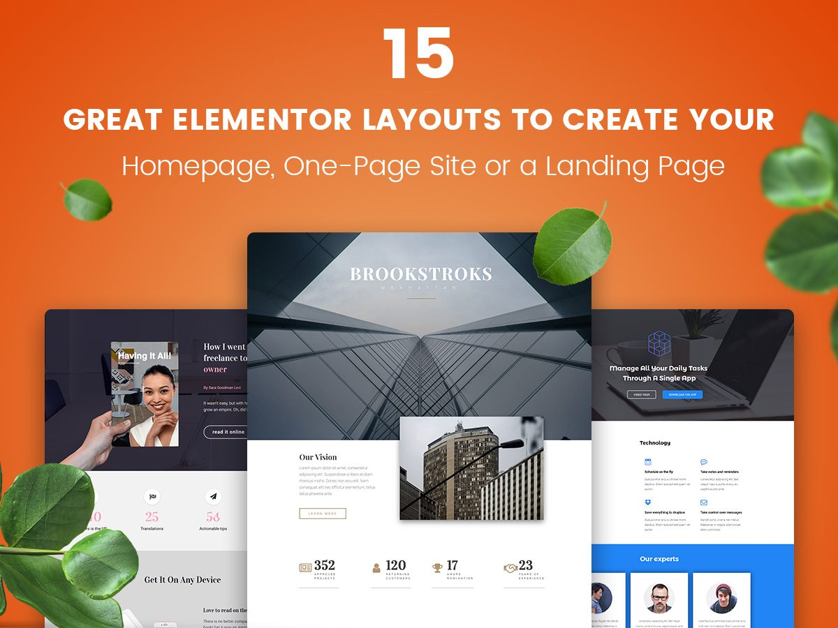 15 Great Elementor Layouts to Create Your Homepage, One-Page Site or a Landing Page