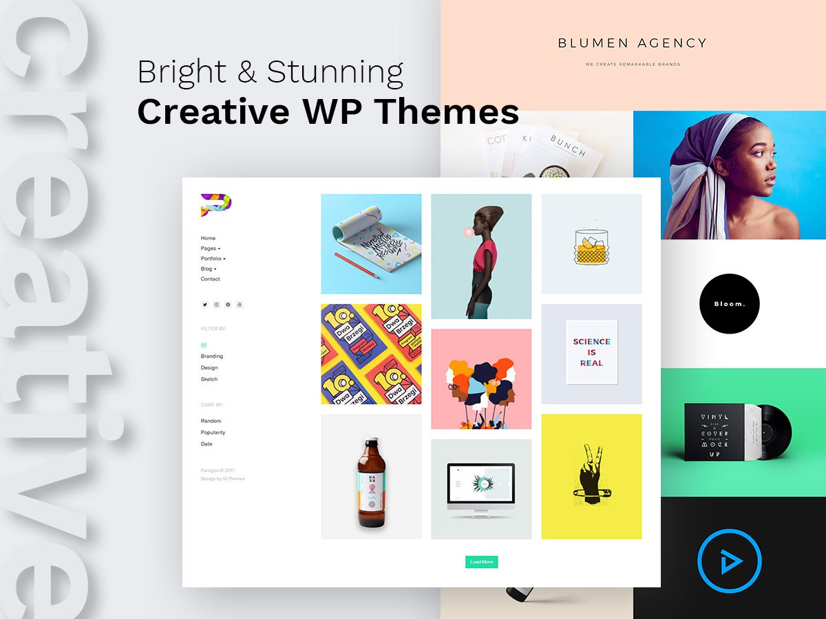 Bright and Stunning Creative WordPress Themes for Portfolios