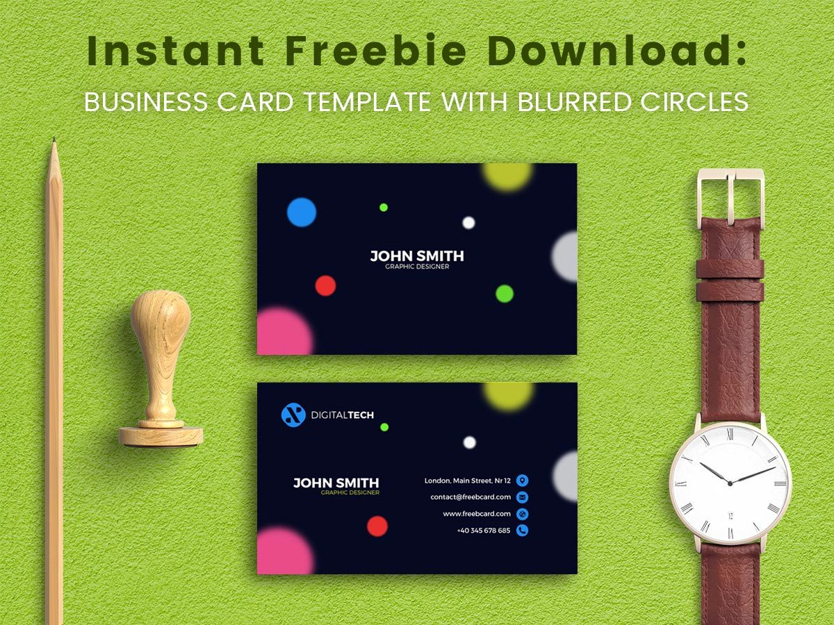 Instant Freebie Download Business Card Template with Blurred Circles