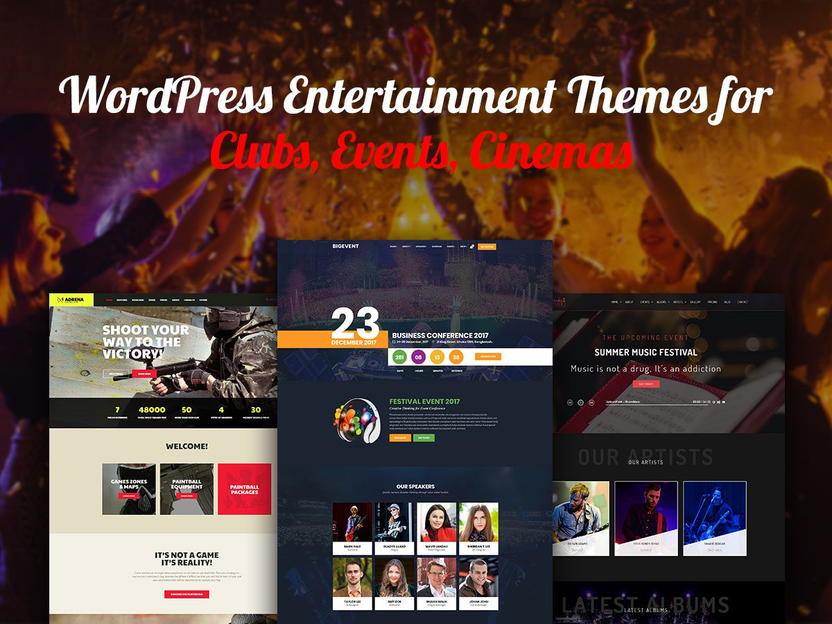 WordPress Entertainment Themes for Clubs, Events, Cinemas and More