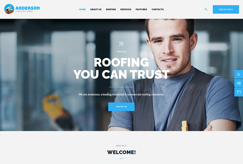 Anderson Industrial Roofing Services Construction WordPress Theme