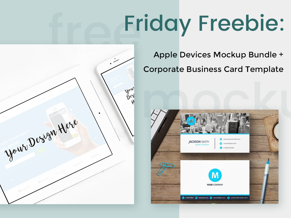 Apple devices mockups corporate business card template wp daddy friday freebie apple devices mockup bundle minimal corporate business card template reheart Images