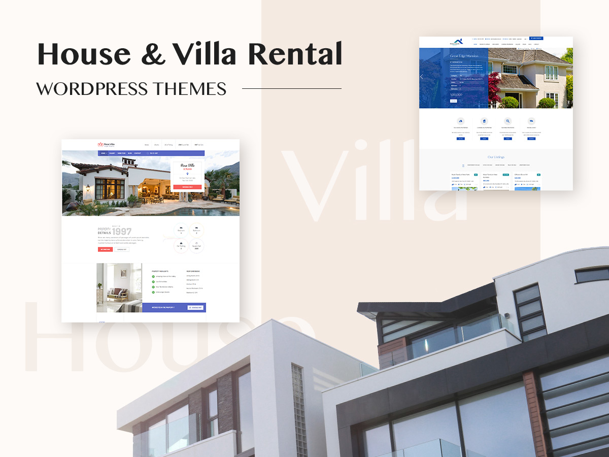 House and Villa Rental WordPress Themes for Real Estate Industry