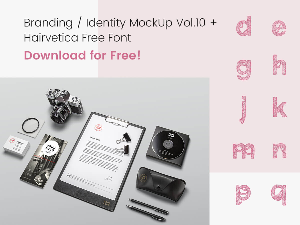 Branding Identity MockUp Vol.10 + Hairvetica Free Font - Download for Free!