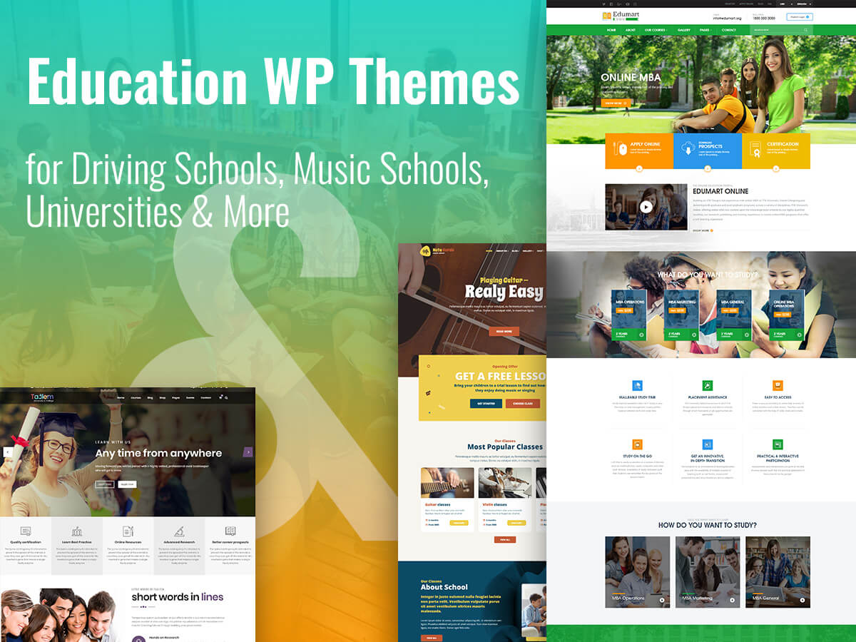 Education WordPress Themes for Driving Schools, Music Schools, Universities and More1