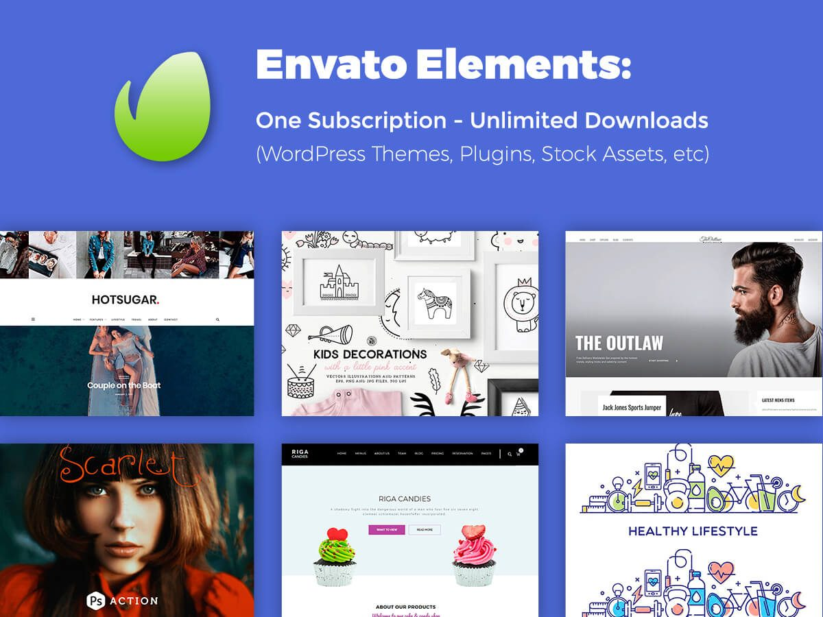 Envato Elements One Subscription - Unlimited Downloads (WordPress Themes, Plugins, Stock Assets, etc)