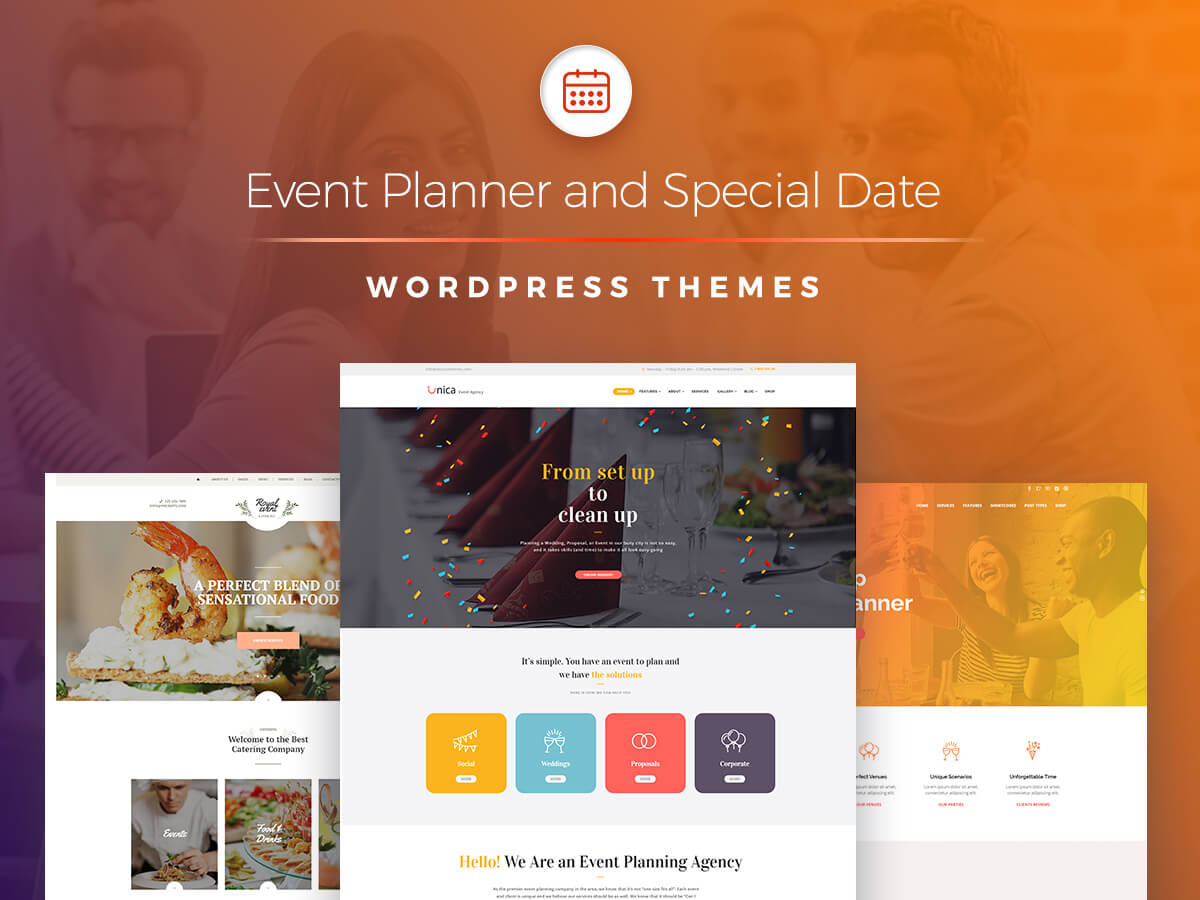Event Planner and Special Date WordPress Themes for Your Agency Websites 2018