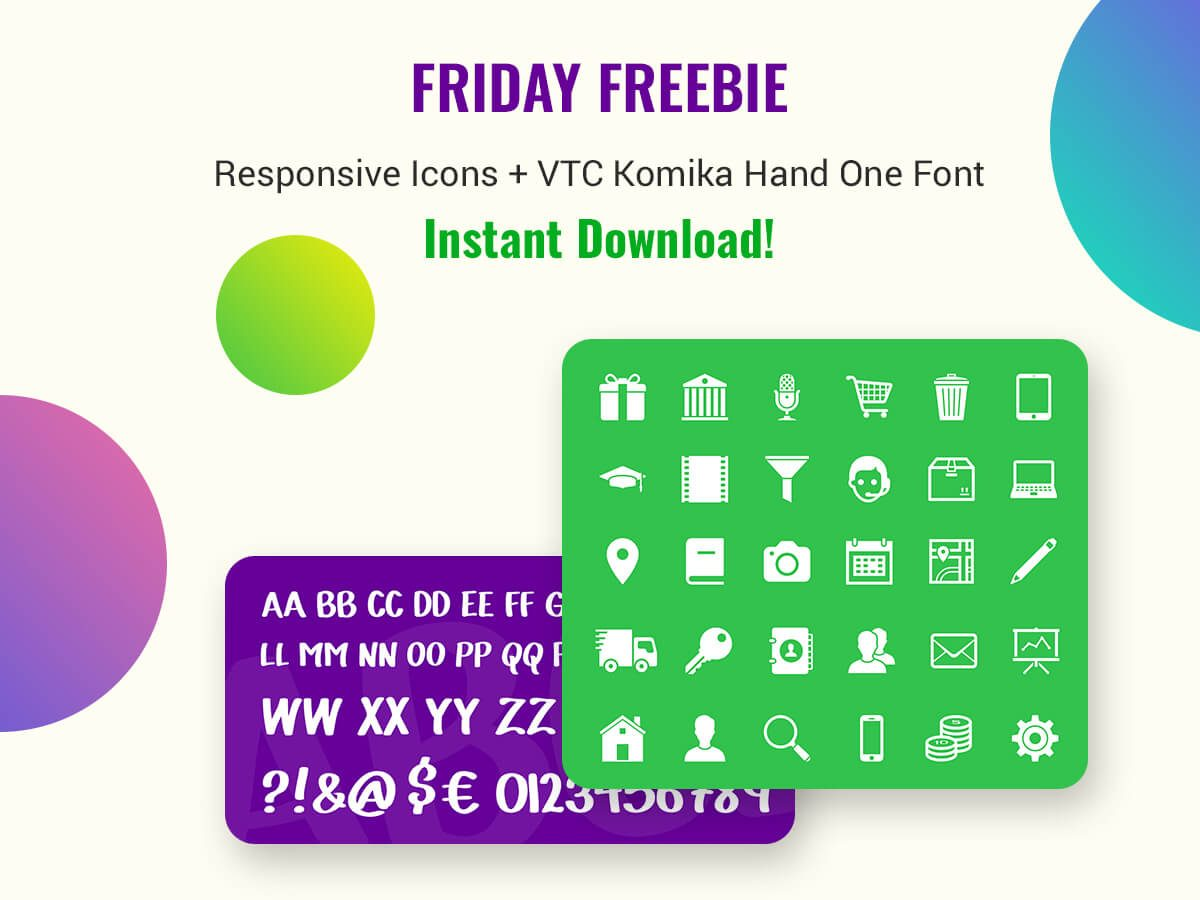 Friday Freebie Responsive Icons + VTC Komika Hand One Font - Instant Download!