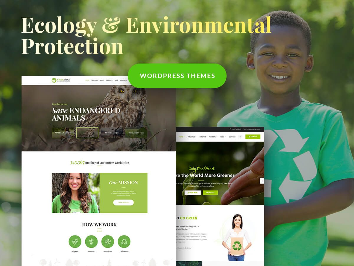 Ecology and Environmental Protection WordPress Themes for Non-Profit Organizations