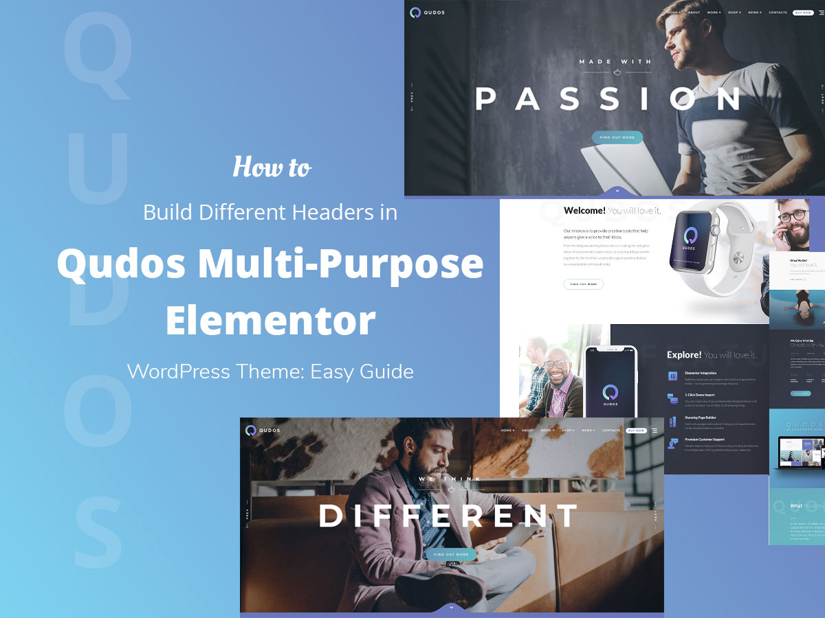 How to Build Different Headers in Qudos Multi-Purpose Elementor WordPress Theme Easy Guide