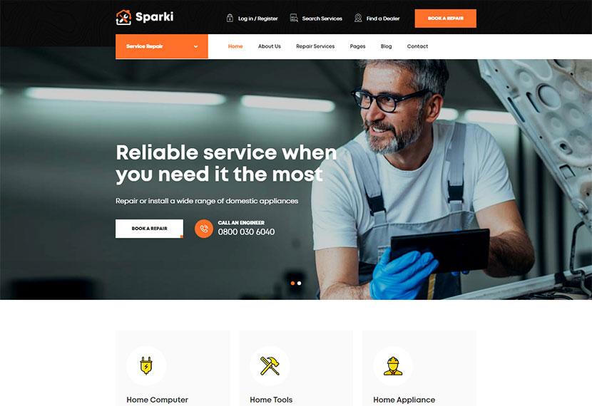 Sparki Service Repair WordPress Theme