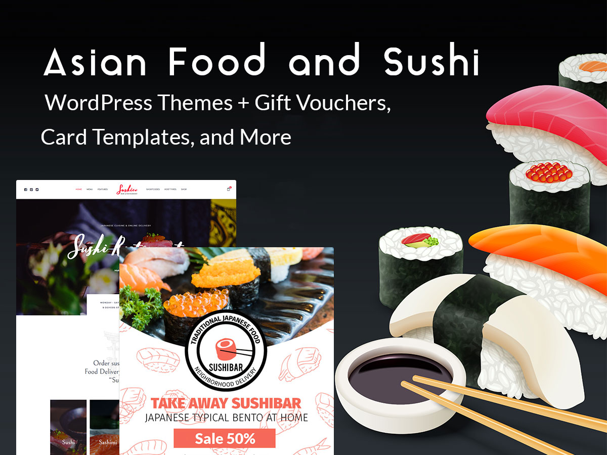Asian Food and Sushi WordPress Themes + Gift Vouchers, Card Templates, and More