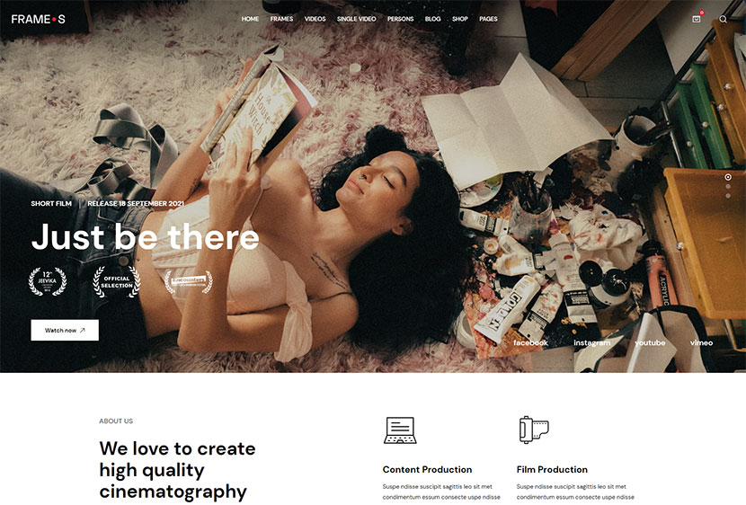 Frames - Movie Studios & Filmmakers WordPress theme