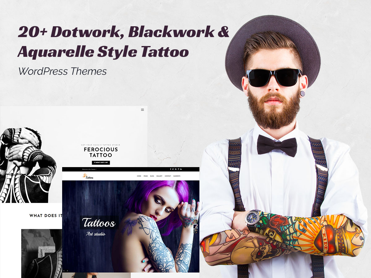 20+ Dotwork, Blackwork and Aquarelle Style Tattoo WordPress Themes for Tattoo Parlors and Artists