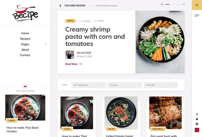 Becipe Recipe Blogging WordPress Theme