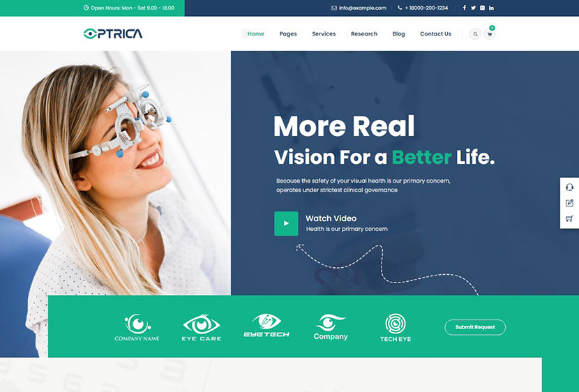 Optrica - Optometrist & Eye Care WordPress Theme