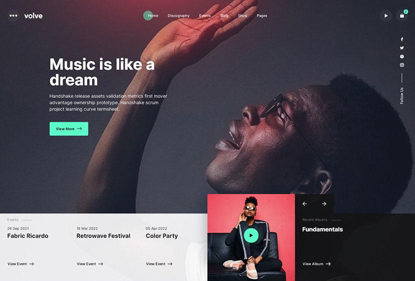 Volve - Creative Music WordPress Theme