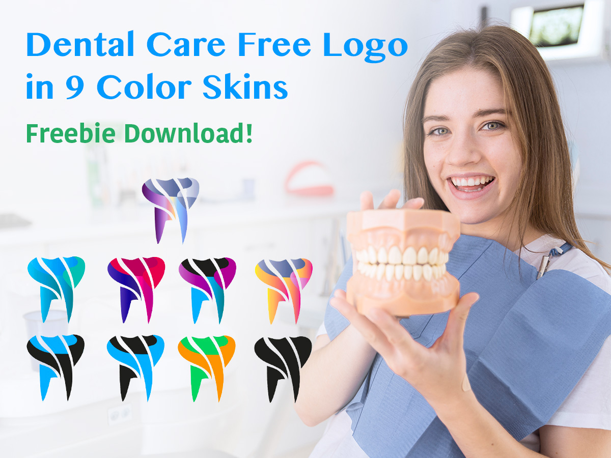 Dental Care Free Logo in 9 Color Skins - Freebie Download!