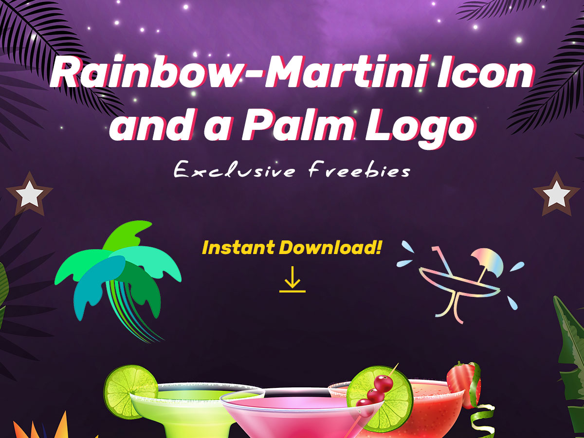 Rainbow-Martini Icon and a Palm Logo Exclusive Freebies for Friday