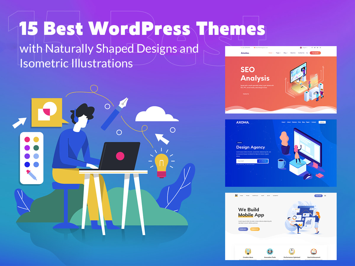 15 Best WordPress Themes with Naturally Shaped Designs and Isometric Illustrations