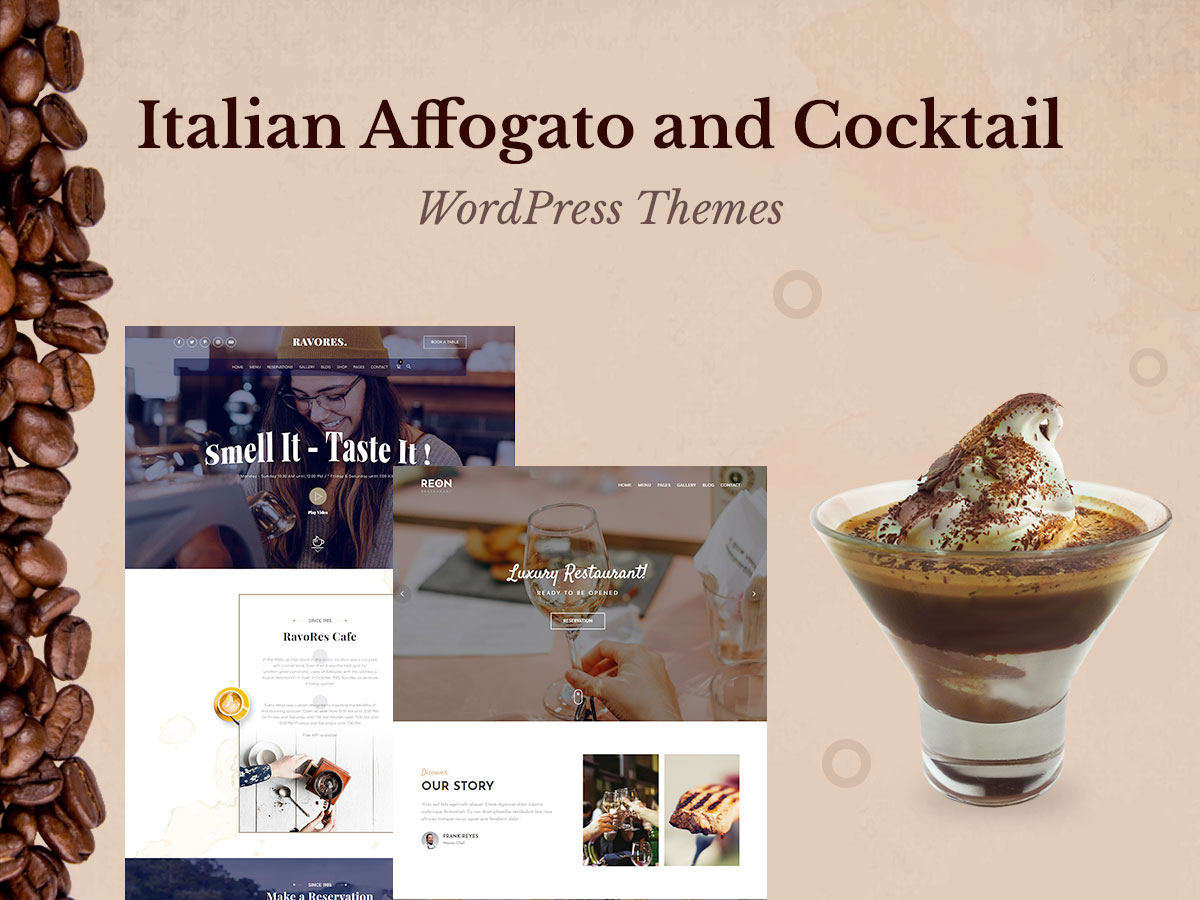 Affogato and Cocktail WordPress Themes for Restaurants and Coffee Houses