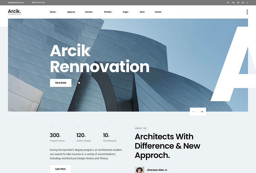Arcik - Architecture & Interior PSD Template