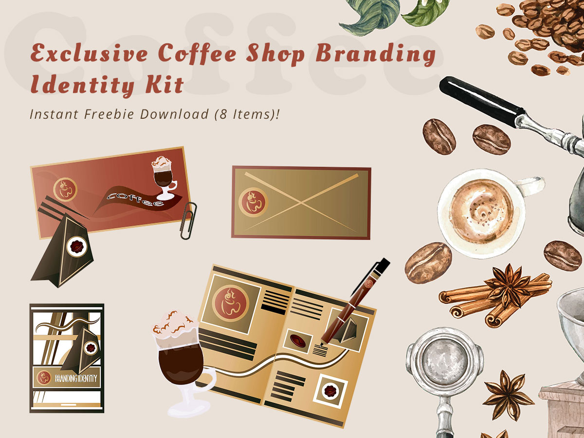 Exclusive Coffee Shop Branding Identity Kit – Instant Freebie Download (8 Items)