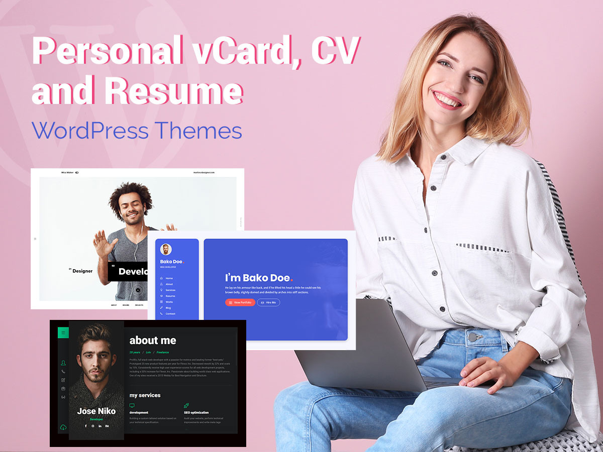 Personal vCard, CV and Resume WordPress Themes for Creative Freelancers