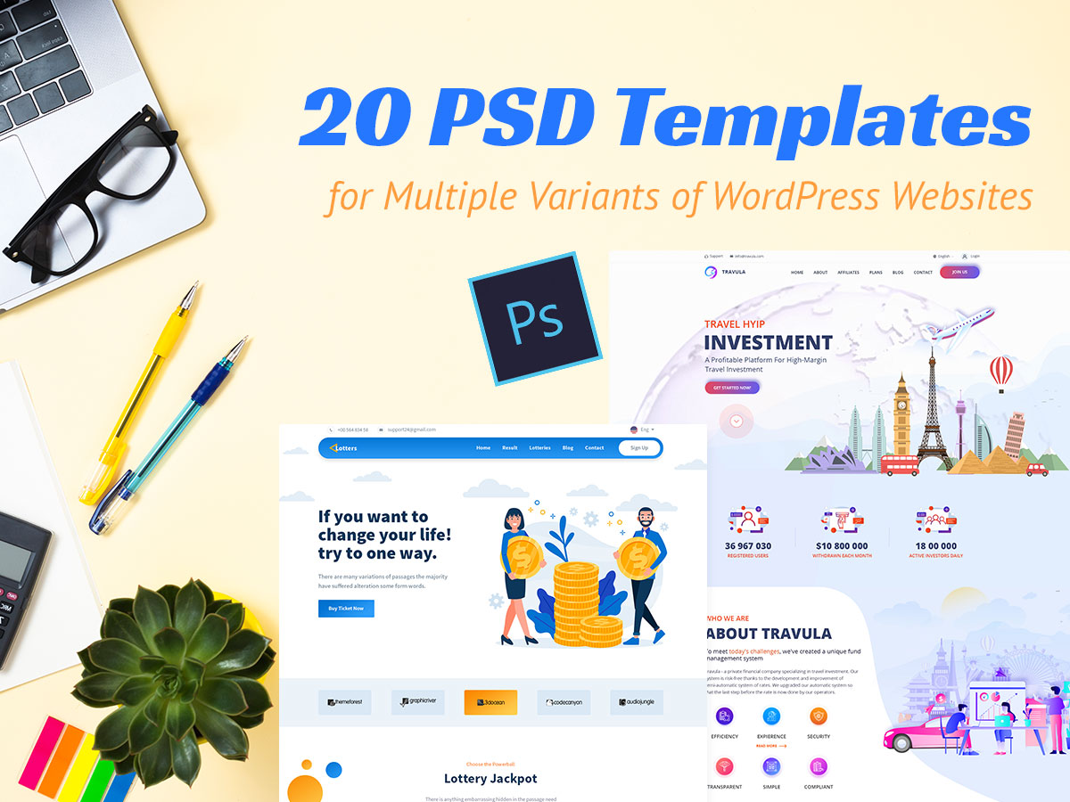 20 PSD Templates for Multiple Variants of WordPress Websites