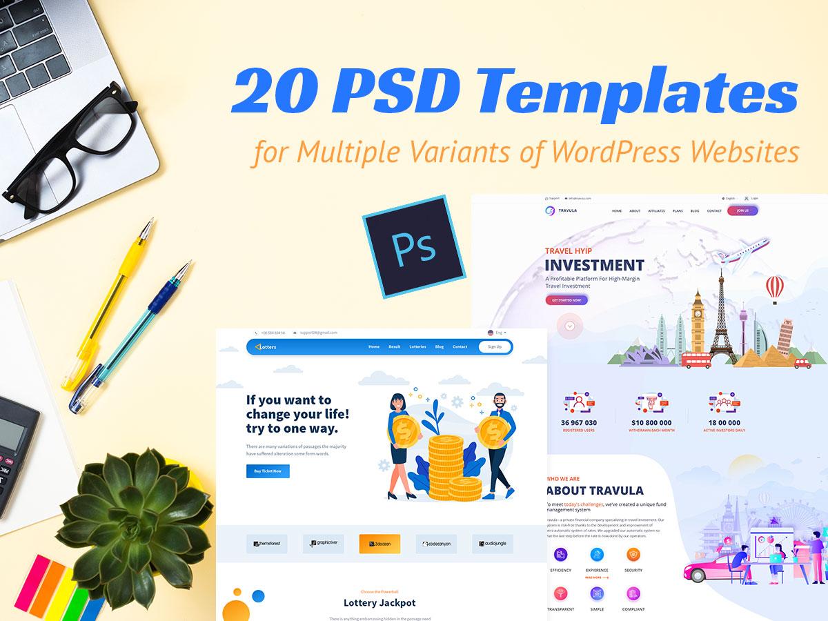 20 PSD Templates for Multiple Variants of WordPress Websites
