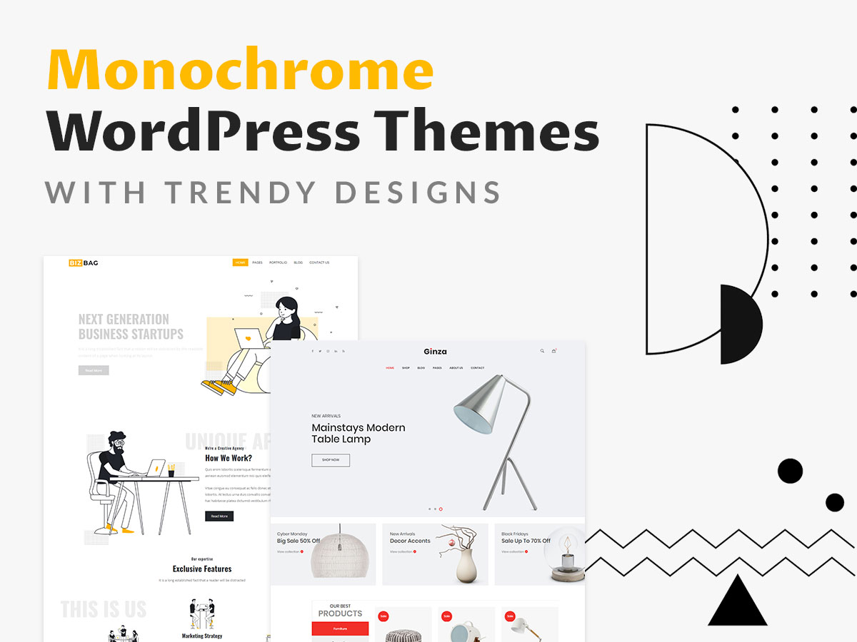 Monochrome WordPress Themes with Trendy Designs