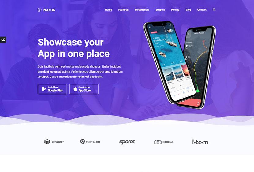 Naxos - App Landing Page WordPress Theme