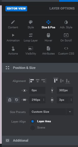position and size slider